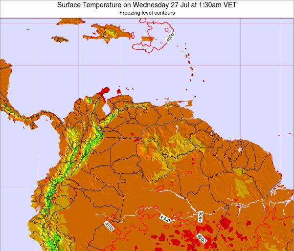 Venezuela Surface Temperature on Sunday 19 May at 7:30pm VET map