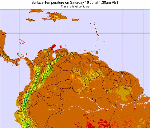 Venezuela Surface Temperature on Wednesday 22 May at 1:30pm VET