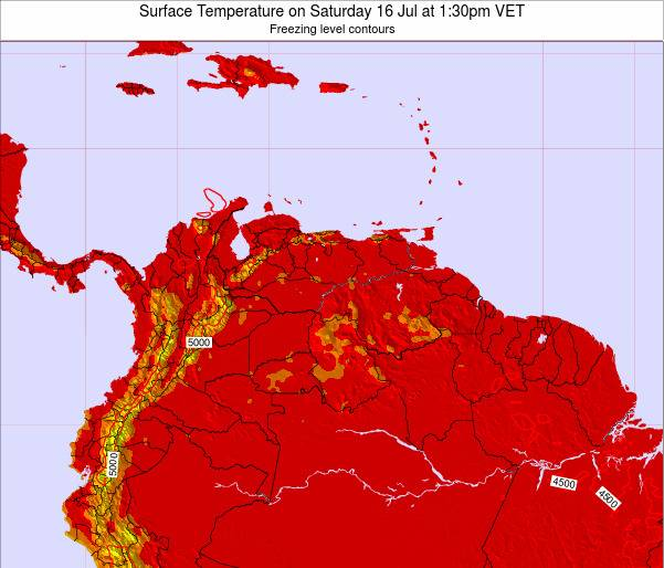 Venezuela Surface Temperature on Wednesday 22 May at 1:30am VET