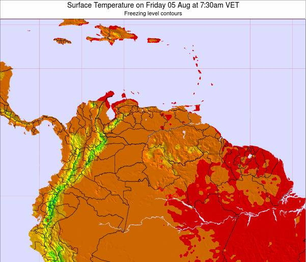 Venezuela Surface Temperature on Sunday 26 May at 1:30pm VET map