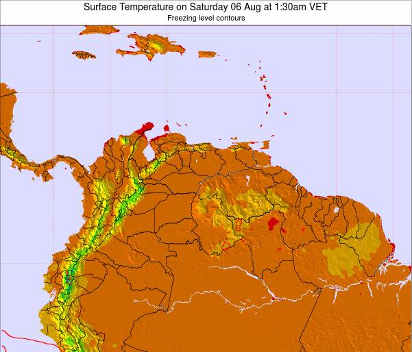 Venezuela Surface Temperature on Tuesday 28 May at 7:30pm VET