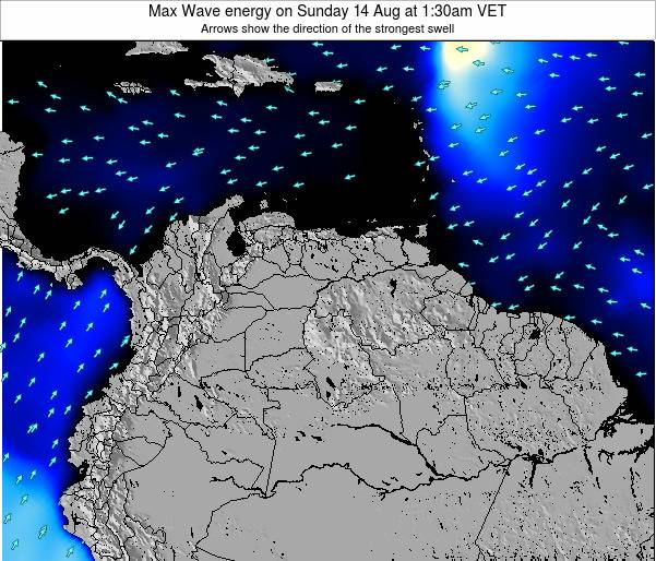 Trinidad and Tobago Max Wave energy on Tuesday 27 Feb at 7:30pm VET map