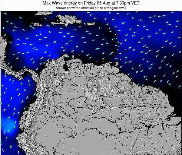 Trinidad and Tobago Max Wave energy on Sunday 29 Apr at 1:30am VET map