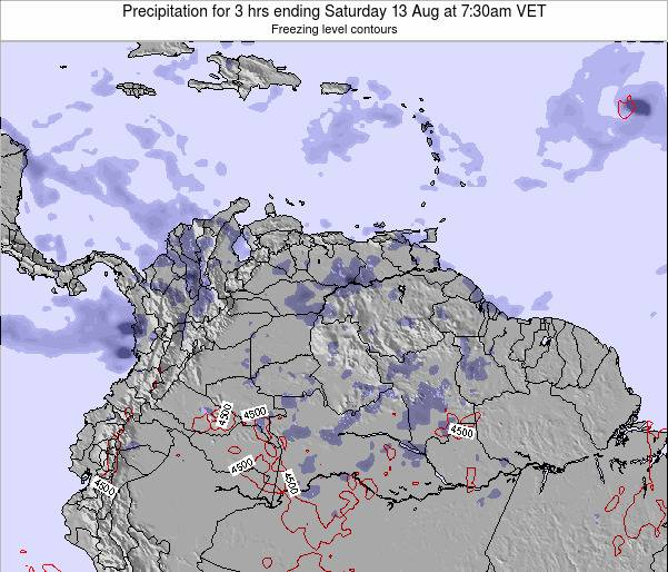 Venezuela Precipitation for 3 hrs ending Tuesday 25 Jun at 1:30am VET