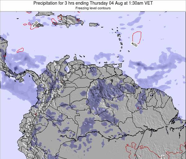 Venezuela Precipitation for 3 hrs ending Sunday 17 Jun at 8pm VET map