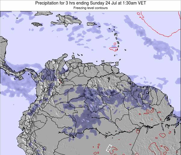 Venezuela Precipitation for 3 hrs ending Tuesday 25 Sep at 8am VET map