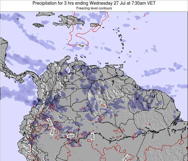 Venezuela Precipitation for 3 hrs ending Wednesday 22 May at 7:30am VET