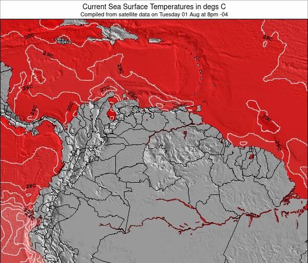 Venezuela Zeetemperatuur Kaart