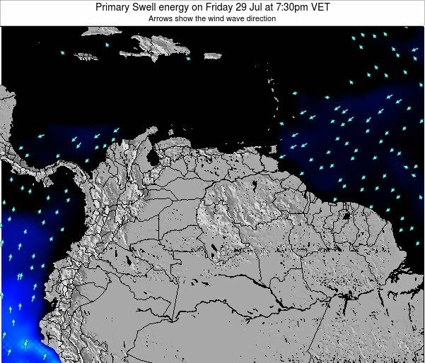 Venezuela Primary Swell energy on Sunday 03 Aug at 1:30am VET