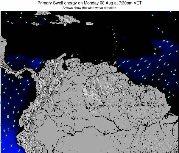 Venezuela Primary Swell energy on Sunday 24 Jun at 8pm VET map
