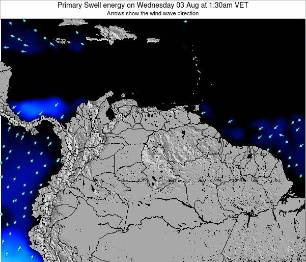 Venezuela Primary Swell energy on Sunday 03 Aug at 7:30am VET