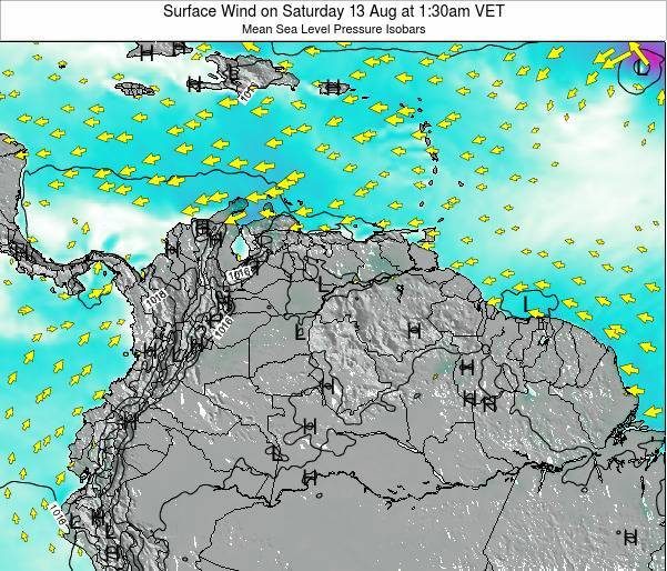 Netherlands Antilles Surface Wind on Friday 24 May at 7:30am VET map