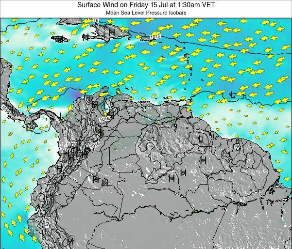 Venezuela Surface Wind on Tuesday 20 Mar at 1:30am VET map