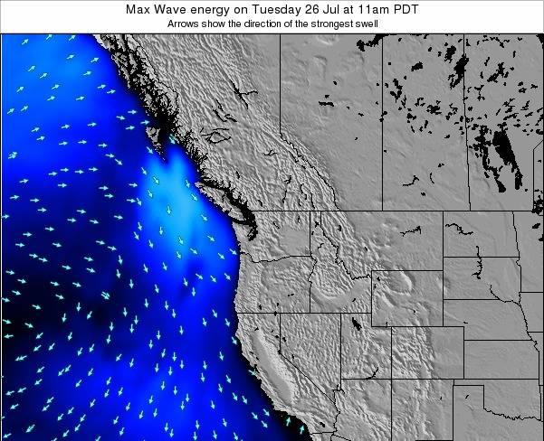 Washington Max Wave energy on Monday 25 Jun at 11am PDT map