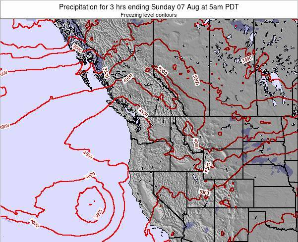 Washington Precipitation for 3 hrs ending Monday 10 Mar at 5pm PDT