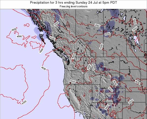 Washington Precipitation for 3 hrs ending Thursday 22 Jun at 11pm PDT