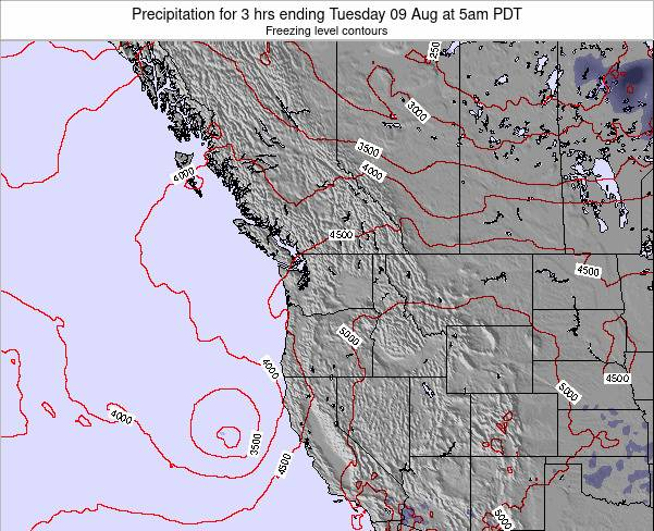 Washington Precipitation for 3 hrs ending Monday 09 Dec at 4am PST