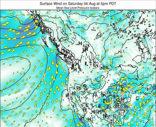 Washington Surface Wind on Wednesday 22 May at 5am PDT map