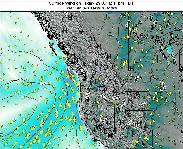 Washington Surface Wind on Tuesday 25 Jun at 5pm PDT