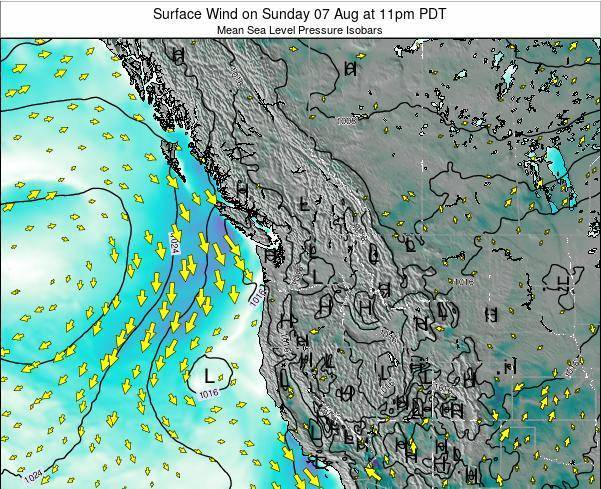 Washington Surface Wind on Thursday 23 May at 5pm PDT