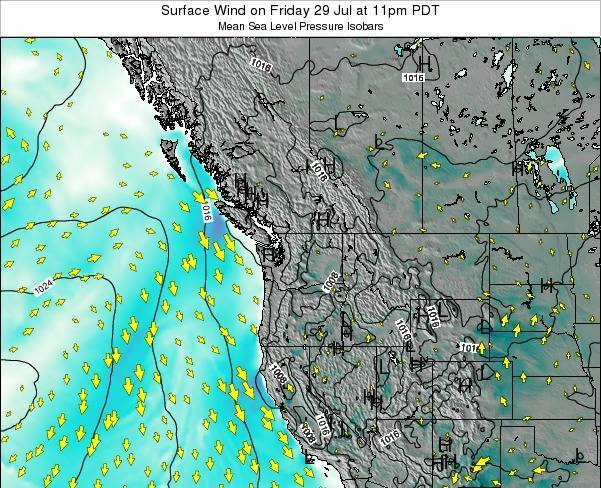 Washington Surface Wind on Wednesday 22 May at 11pm PDT