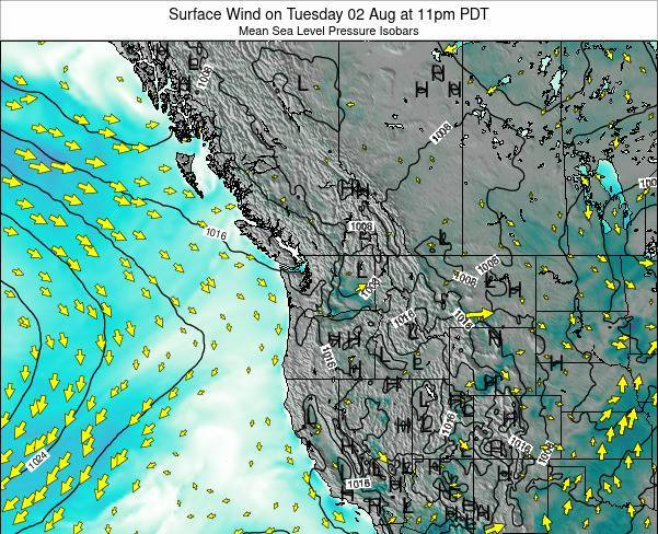 Washington Surface Wind on Monday 20 May at 5am PDT