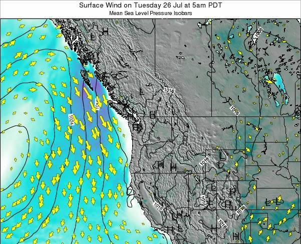 Washington Surface Wind on Tuesday 02 Aug at 5am PDT