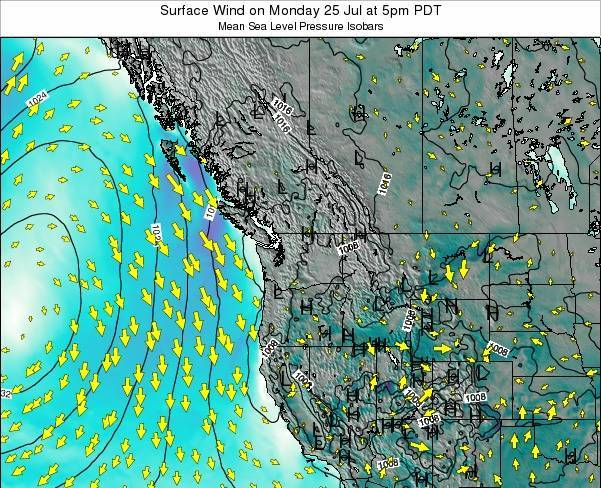 Washington Surface Wind on Sunday 20 Apr at 11pm PDT