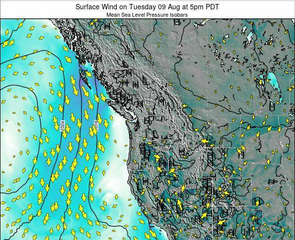 Washington Surface Wind on Thursday 26 May at 5pm PDT