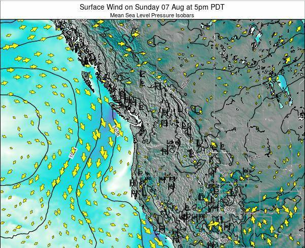 Washington Surface Wind on Friday 14 Mar at 5pm PDT