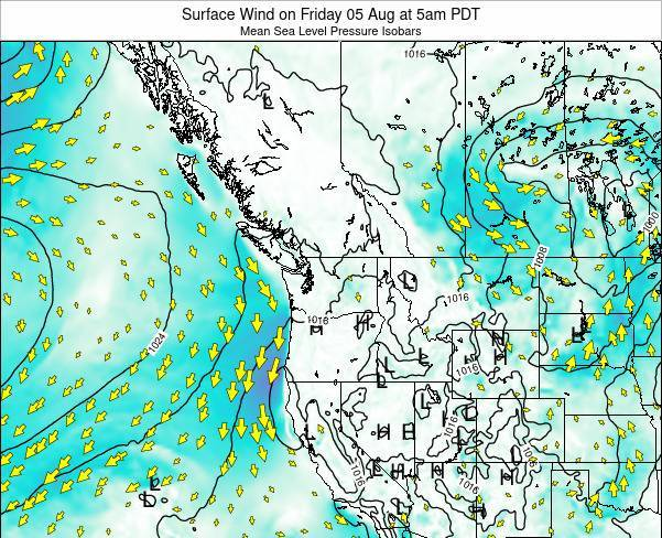 Washington Surface Wind on Monday 27 May at 5am PDT