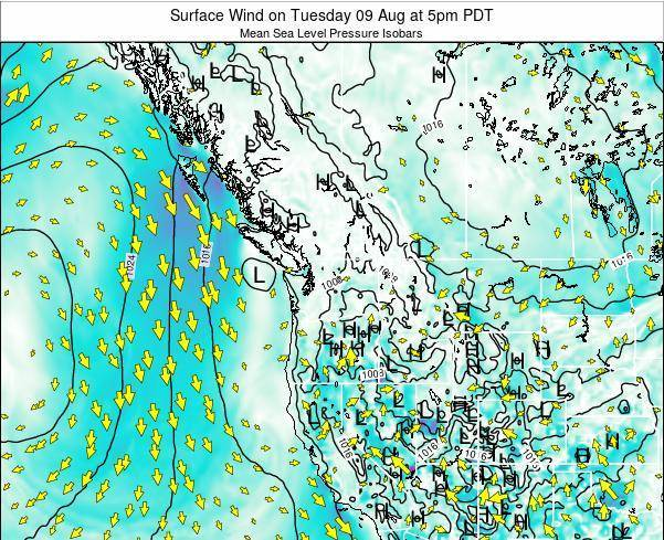Washington Surface Wind on Monday 27 May at 5pm PDT
