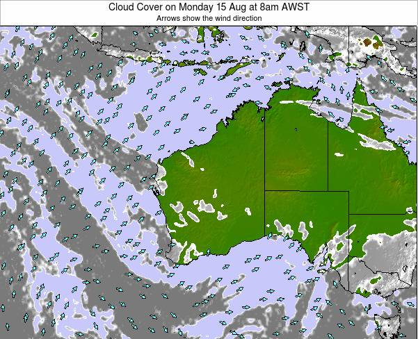 Western-Australia Cloud Cover on Monday 01 Jun at 8am WST