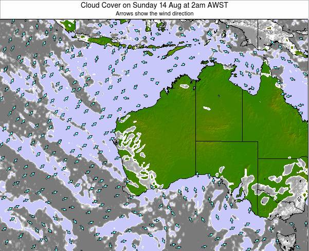 Western-Australia Cloud Cover on Monday 28 Apr at 2am WST