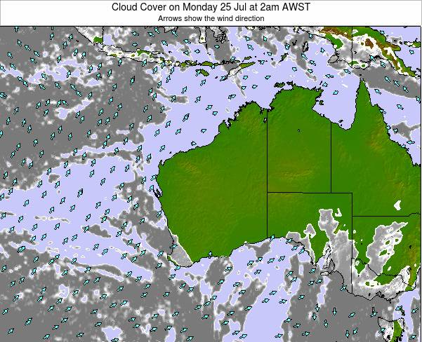 Western-Australia Cloud Cover on Monday 17 Mar at 2pm WST