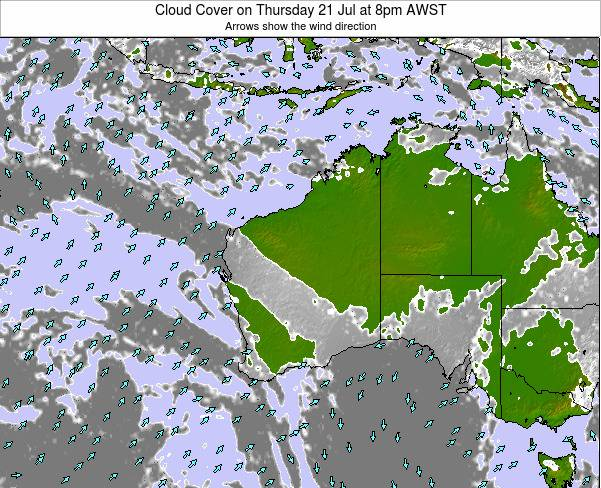 Western-Australia Cloud Cover on Tuesday 29 Jul at 8pm WST