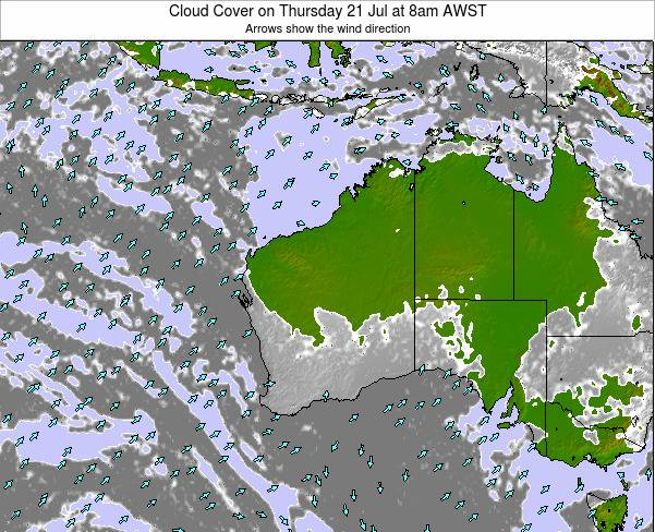 Western-Australia Cloud Cover on Tuesday 22 Apr at 2am WST