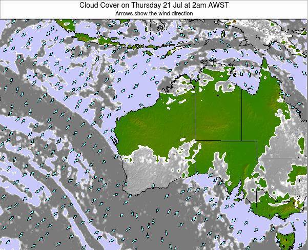 Western-Australia Cloud Cover on Monday 01 May at 2am AWST