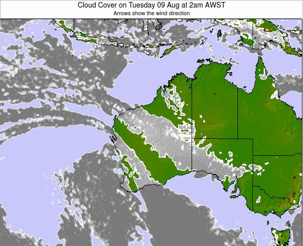 Western-Australia Cloud Cover on Tuesday 04 Nov at 2pm WST
