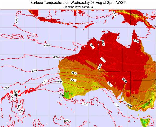 Western-Australia Surface Temperature on Saturday 25 May at 8pm WST