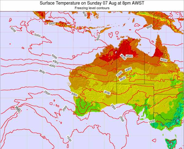 Western-Australia Surface Temperature on Thursday 20 Jun at 8pm WST
