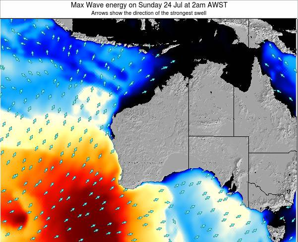 Western-Australia Max Wave energy on Thursday 23 May at 8am WST