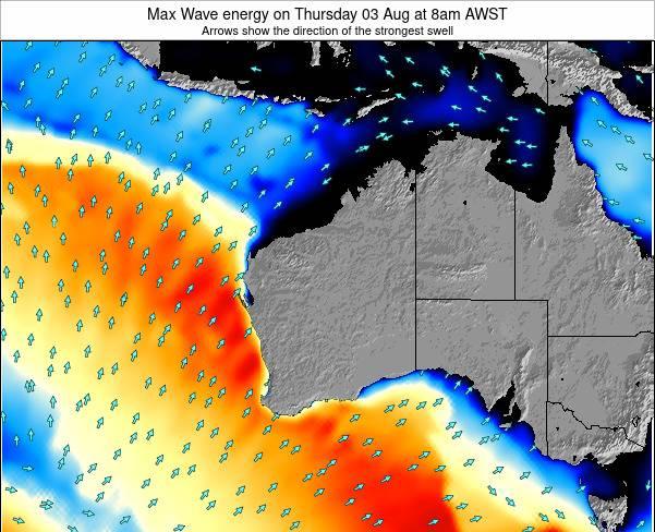 Western-Australia Max Wave energy on Monday 17 Dec at 2am AWST map
