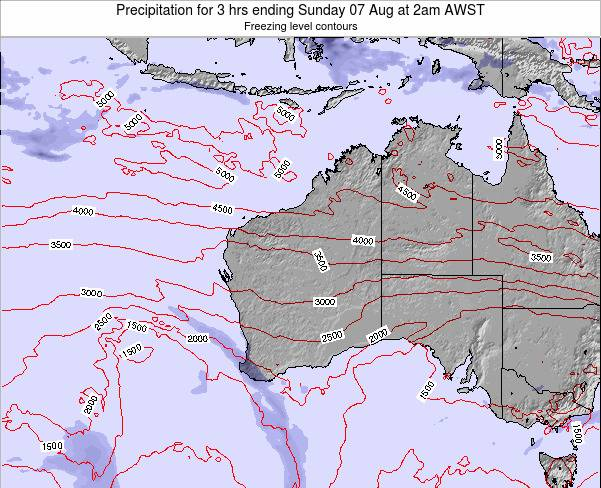 Western-Australia Precipitation for 3 hrs ending Tuesday 21 May at 2pm WST map