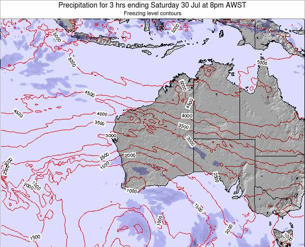 Western-Australia Precipitation for 3 hrs ending Thursday 30 May at 2pm WST map