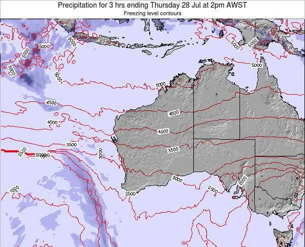 Western-Australia Precipitation for 3 hrs ending Thursday 27 Jun at 2am WST map