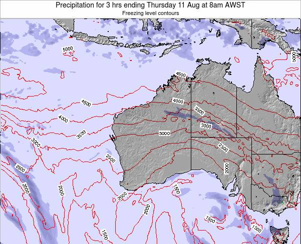 Western-Australia Precipitation for 3 hrs ending Saturday 25 May at 2pm WST