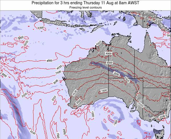 Western-Australia Precipitation for 3 hrs ending Monday 03 Oct at 2pm AWST