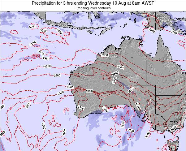 Western-Australia Precipitation for 3 hrs ending Sunday 27 Jul at 2pm WST map