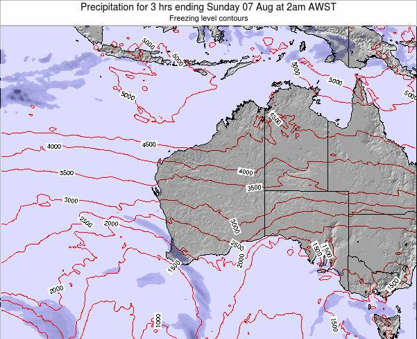 Western-Australia Precipitation for 3 hrs ending Tuesday 05 Aug at 8pm WST